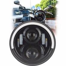 """7 """"50 Watt Runde LED Scheinwerferlampe Daymaker mit Hallo/Lo Strahl Halb halo-Ring Angle Eye DRL Blinker Für Harley Davidson motorrad"""