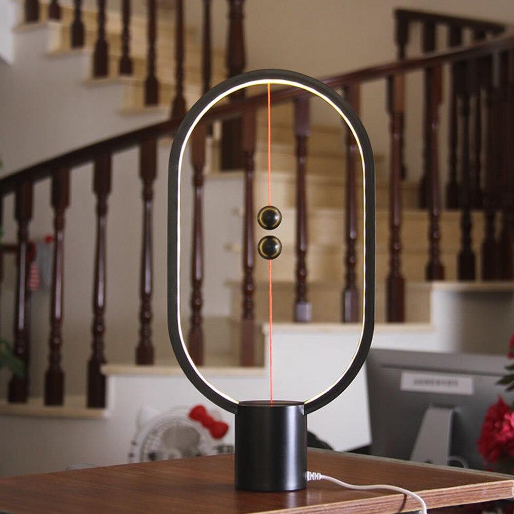 HZFCEW Dropship Heng Balance LED Table Lamp Ellipse Magnetic Mid-air Switch USB Power Warm White Eye-Care Night Light Decoration