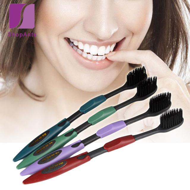 4 unids/lote salud higiene bucal doble ultra soft cepillo de carbón de bambú nano cepillo de limpieza cepillo de dientes de carbón cuidado de la salud oral