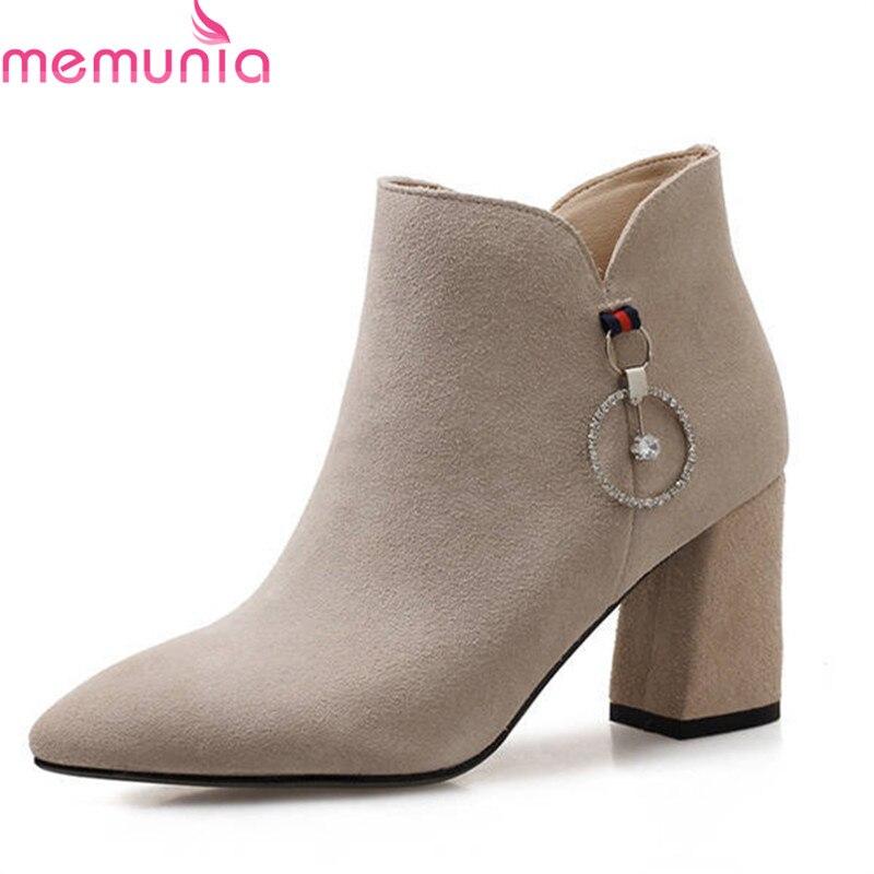Gamuza Zapatos Alto Otoño gris Tacón De Punta Moda Calientes Llegada Estrecha 2018 Nueva Tobillo Invierno Botas Mujeres Negro apricot Mujer Memunia Oaqwtzz