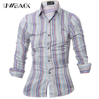 Uwback Men S Casual Shirt Long Sleeve Shirt Men Cotton 2017 Fashion Multi Color Striped Shirt