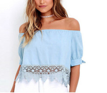 Fashion Womens Ladies Lace Off Shoulder Shirt Casual Blouse Crop Tops Blue Size Costume Summer Laipelar
