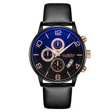 Men's Business Genuine Leather Sub Dials Glow in Dark Analog