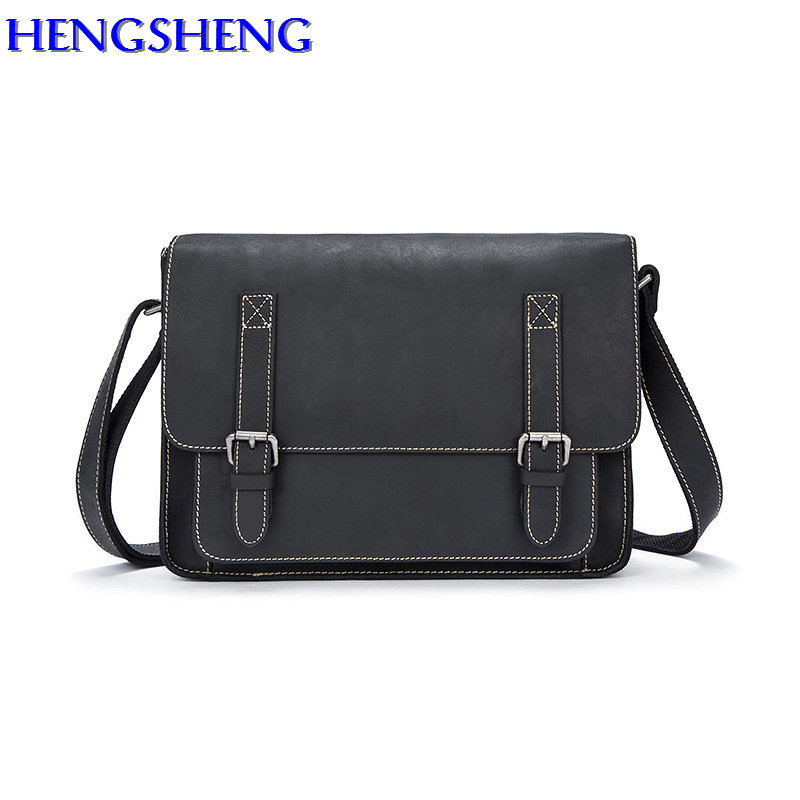 Hengsheng luxury Cross men genuine leather shoulder bags for business men cow leather bag of black menssegers bags calmoon 831 men s genuine cow leather shoulder bag black
