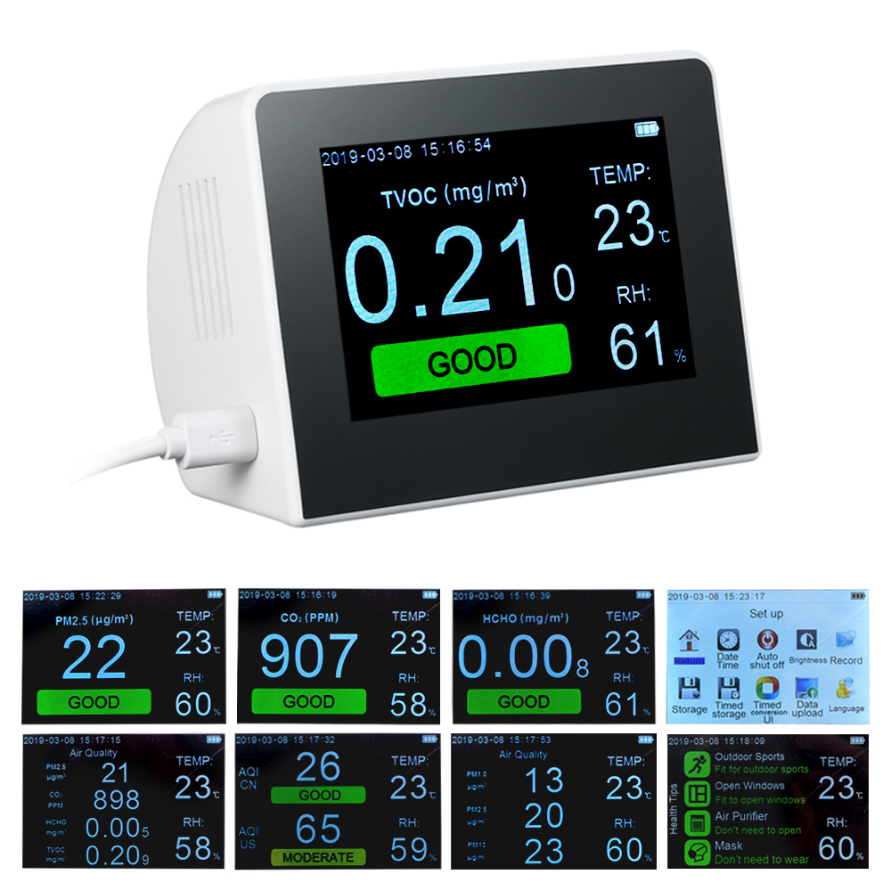 CO2 HCHO PM1.0 PM2.5 PM10 Formaldeyde COVT Detector com Temperatura Umidade Medidor Tester Analisador da Qualidade do Ar