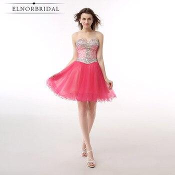 Elnorbridal Crystal Beading Cocktail Dresses 2018 Vestidos De Coctel Elegantes Sweetheart Short Party Dress Prom Gowns