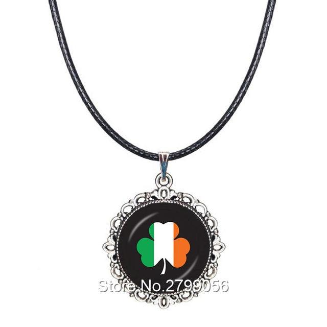 Online shop irish necklace ireland flag shamrock pendant three irish necklace ireland flag shamrock pendant three leaves choker necklace lucky accessory dome collar st patricks day gift aloadofball Choice Image