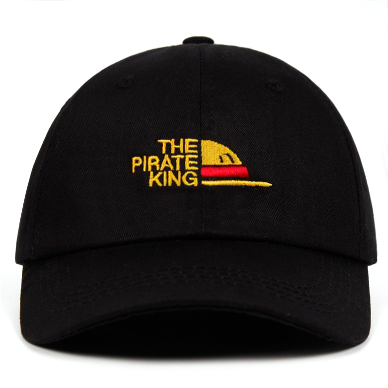 100% Cotton The Pirate King Dad Hat One Piece embroidery Luffy hat Baseball Cap Anime fan Hats for Women Men ok Man Snapback