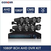 CCDCAM Full HD 1080P AHD DVR Kit 8CH DVR with 2MP AHD Camera 72 Pcs IR Led