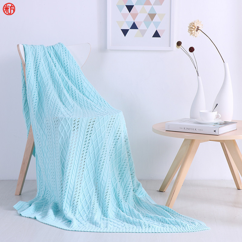 Home Textile High Quality knitted Blanket 100%Cotton Sky Blue Sofa Blanket 135*160cm Beige Coffee Green Throw Summer Bedding  цены