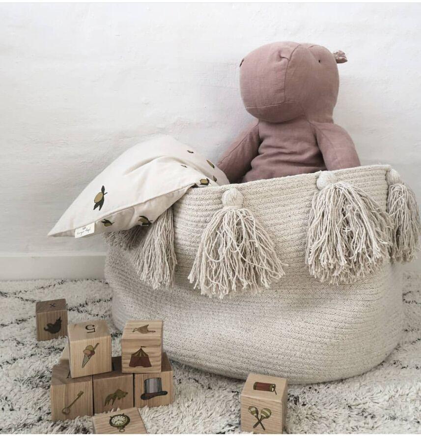 Nordic Ins Cotton Rope Braided Tassels Storage Basket Room Debris Baby Diaper Box
