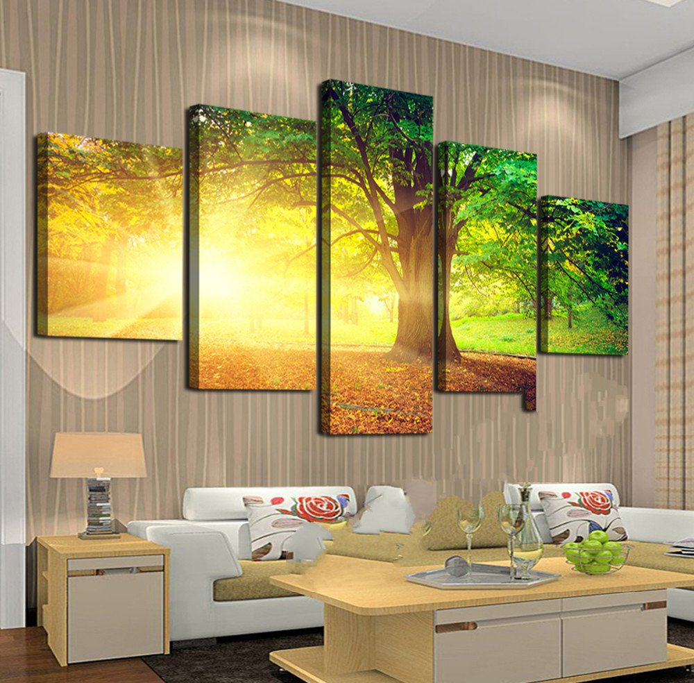 Aliexpress.com : Buy 5 Panels Sunshine and woods Lavender Painting ...