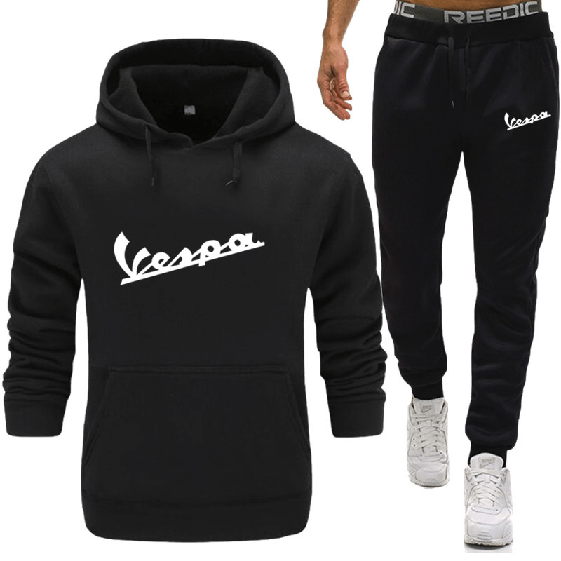 New Winter Tracksuits Men Set Thicken Vespa Print Hoodies + Pants Suit Spring Sweatshirt Sportswear Set Male Hoodie Sporting Sui