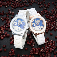 Fashion Simple Women White Ceramic Strap Wrist Watch Twelve Constellations Cancer Design Ladies Quartz Watches for Birthday Gift