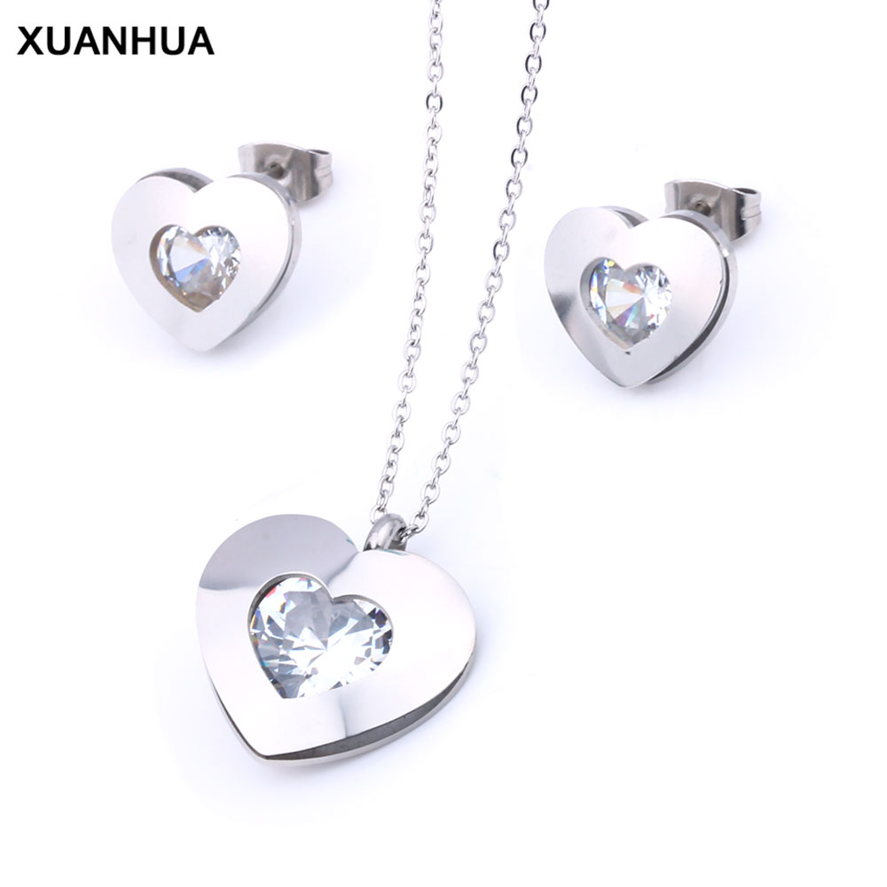 XUANHUA Stainless Steel Jewelry Woman Zirconia Heart Jewelry Sets Fashion Necklace And Earing Set Gifts For Women Jewellery
