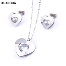 XUANHUA Stainless Steel Jewelry Woman Zirconia Heart Jewelry Sets Fashion Necklace And Earing Set Gi