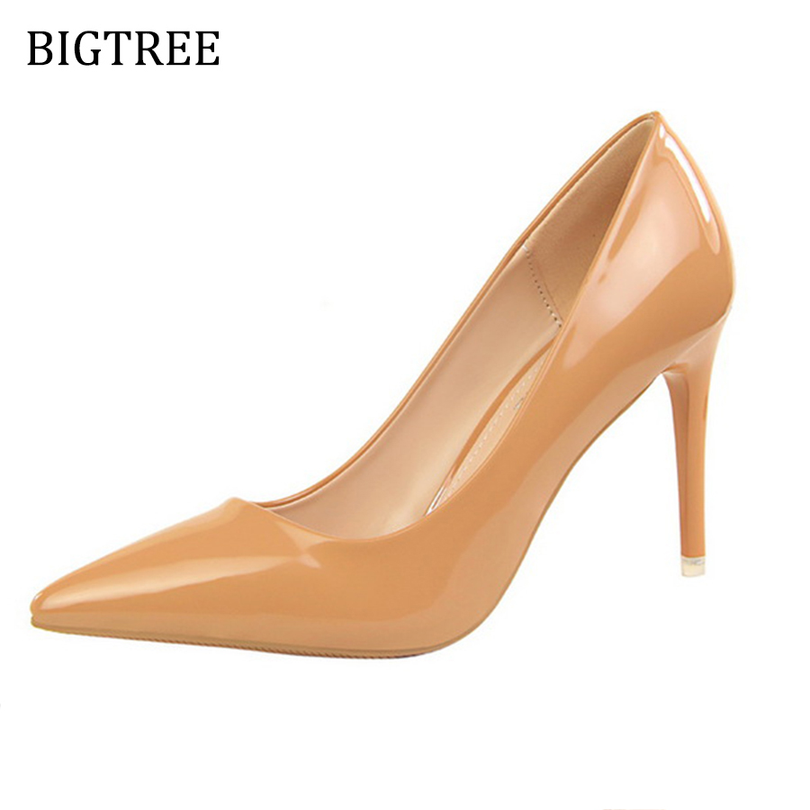 Size34-39 Shoes Woman Red Pumps High Heels 9 CM Party Wedding Shoes Patent Leather Pointed Toe Sexy Black Nude Womens Shoes sexy black leather pointed toe high heels pumps shoes newest woman s lace up thin heels shoes party shoes