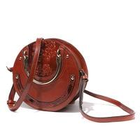 Круглый знаменитый Топ ручка сумка женская сумка на плечо Женская винтажная натуральная кожа сумки через плечо женские сумки через плечо