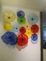 Colorful Wall Decorated Glass Plates, Hand Blown Customized Italy Designer Murano Art Wall Plate Lighting