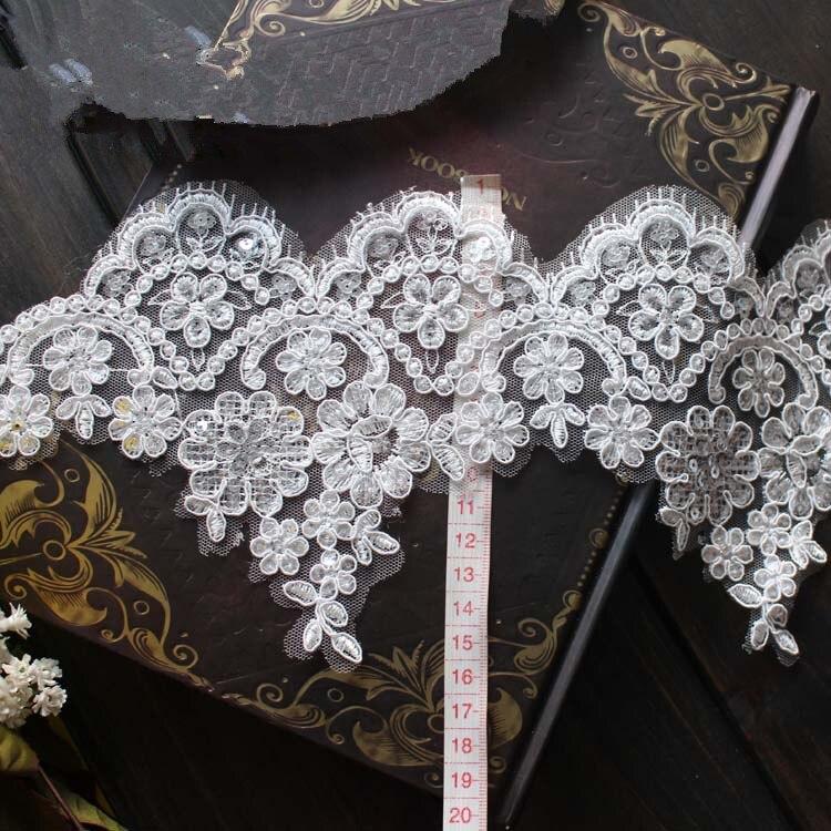 15cm eyelash lace paillette lace trim bridal veil trim for Wedding dress sewing supplies