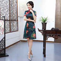 Novelty Short Sleeve Oriental Women Cheongsam Print Floral Vintage Slim Aodai Dress Vestidos Big Size 3XL Elegant Short Qipao