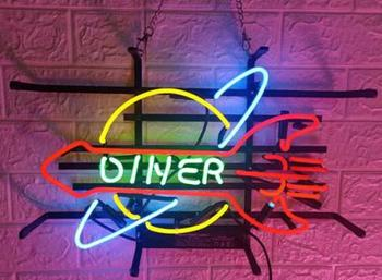 Custom Diner Rocket Glass Neon Light Sign Beer Bar