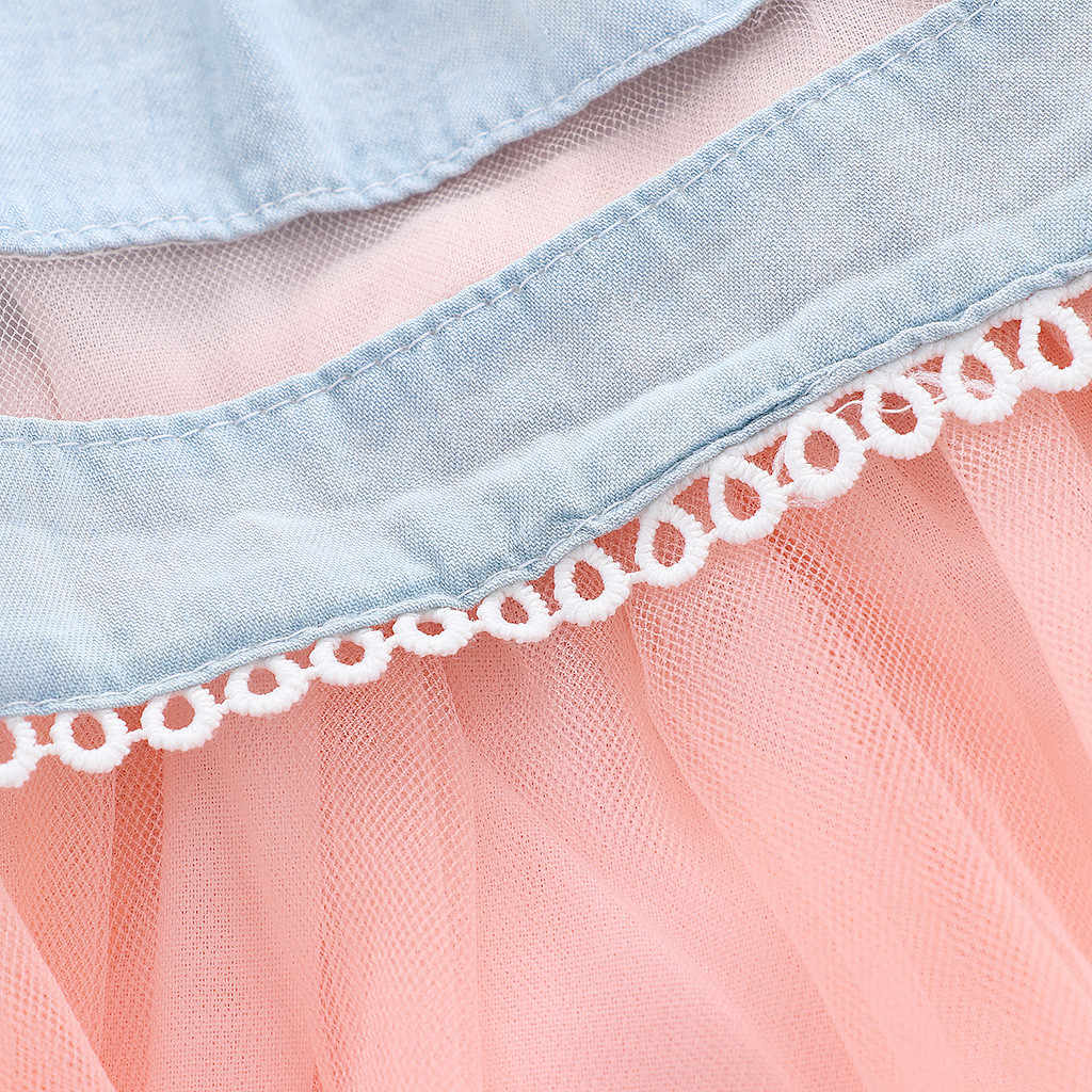 LONSANT/платье для маленьких девочек, джинсовое кружевное платье принцессы из тюля для малышей, милое платье без рукавов с вышивкой фруктов для девочек