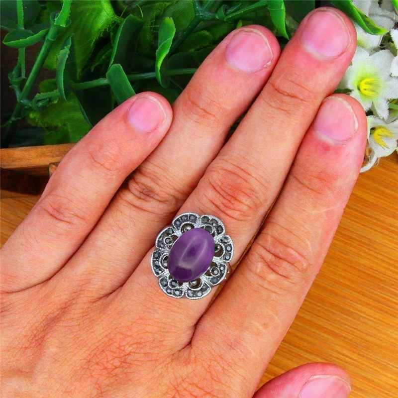 รูปไข่ธรรมชาติแหวนผู้หญิงวินเทจโบราณเงินชุบ Rhinestone พลัมดอกไม้แฟชั่นเครื่องประดับ TR690