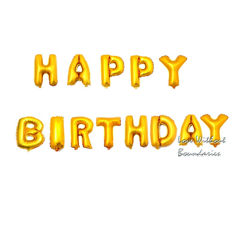 65pcs/lots Letter Happy Birthday BALLOON Aluminum Foil Balloon Baby Birthday Party Decoration Alphabet Helium Balloon