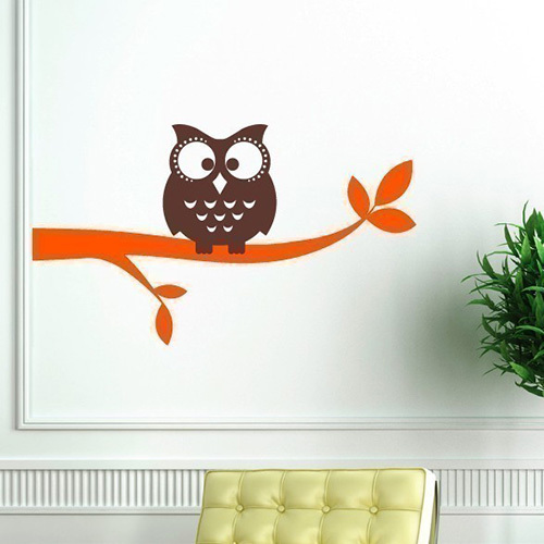 Owl on a Branch Vinyl Wall Decal - Owl Wall Decals - Children Baby Boy Girl