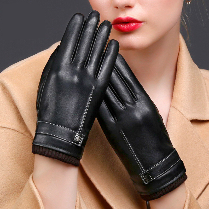 2018New Winter Women Men Gloves Solid Simple Fashion PU Leather Mobile Phone Touched Screen Waterproof Gloves For Woman