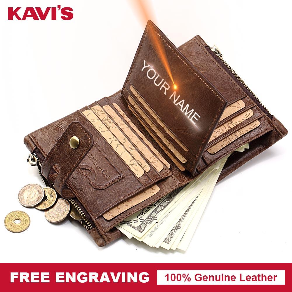 KAVIS Vintage Genuine Leather Wallet Men PORTFOLIO Gift Male Cuzdan Portomonee Perse Coin Purse Pocket Bag Mini Purse Vallet