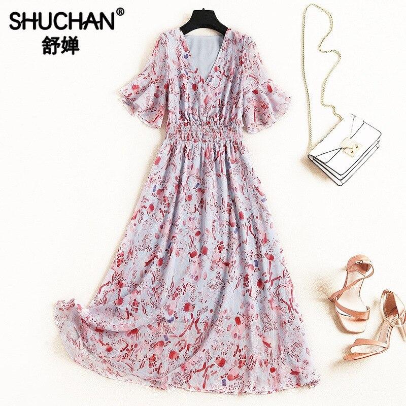 Shuchan Chiffon Bohemian Dress A-Line Print Butterfly Sleeve V-Neck New Arrival 2019 Women Summer Dresses To Mid-Calf F030
