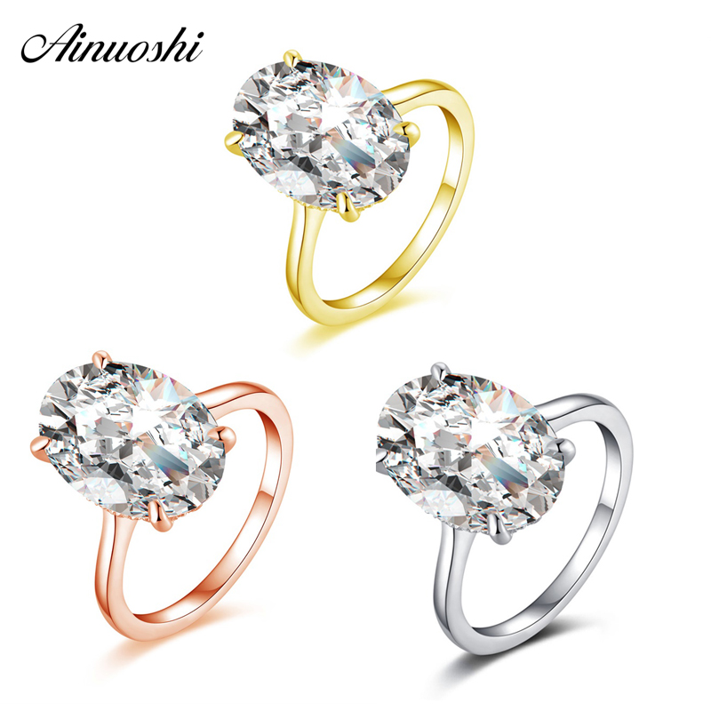 AINOUSHI Luxury 925 Sterling Silver Engagement Rings for Women 5ct Oval Solitiare Halo Rings Lover Jewelry bague femme argent