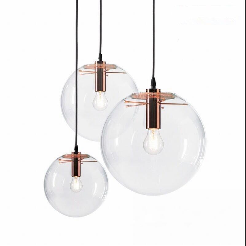 Rose Gold Nordic Pendant Lights Globe Chrome Lamp Glass