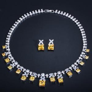 Image 2 - CWWZircons Gorgeous księżniczka Cut żółta cyrkonia kamień kobiety Wedding Party kostium naszyjnik zestawy biżuterii dla panien młodych T351
