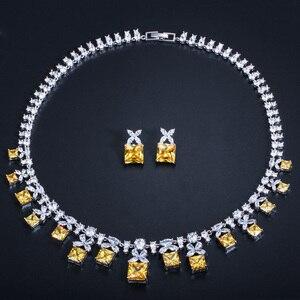 Image 2 - Cwwzircons 화려한 공주 컷 옐로우 큐빅 지르코니아 스톤 여성 웨딩 파티 의상 목걸이 쥬얼리 세트 신부 t351