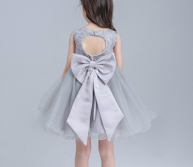 00fa99cbb2 Flower girl dress weselne biały szary pierwsze święte koronki komunii dress  for girls dzieci dzieci junior druhny w Flower girl dress weselne biały  szary ...