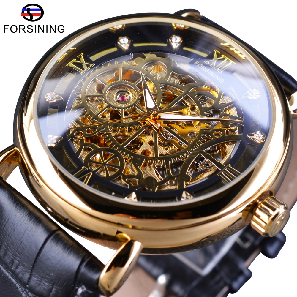 Forsining Golden Transparent Case Retro Tarot Card Mens Watch Openwork Top Brand Luxury Automatic Leather Skeleton Wrist Watch forsining golden case steampunk automatic wrist watch mens skeleton watches top brand luxury uhren men genuine leather clock