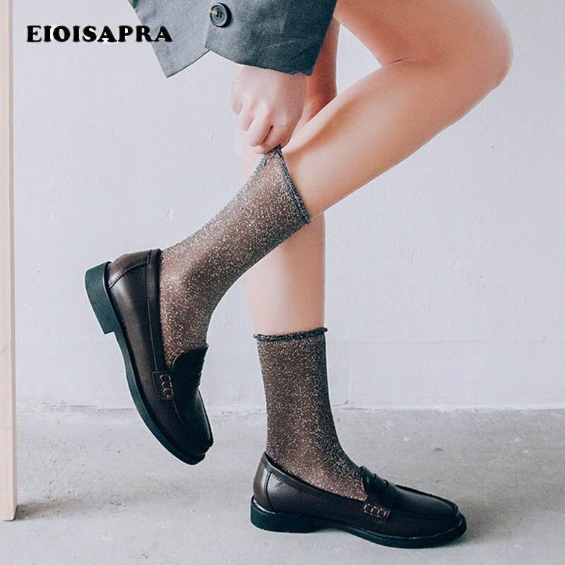 [EIOISAPRA]Gold Silver Silk Ultra-thin Transparent Socks Lace Edge Shiny Socks Japan Harajuku Sexy Socks Women Calcetines Mujer