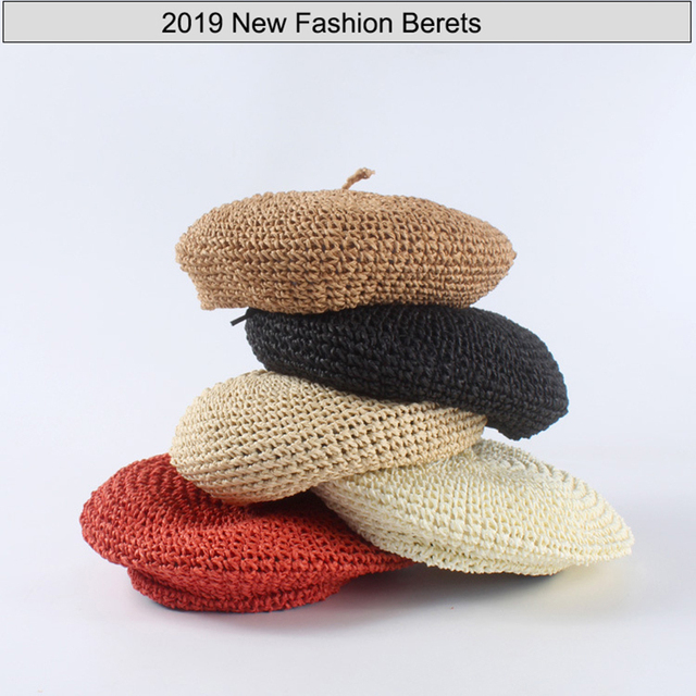ceb012d68b9a7 2019 New Handmade Women Berets Female Straw Hats For Spring Autumn Girl  Flat Cap Knit Black