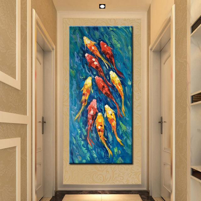 Abstract Watercolor Canvas Painting Hand Drawing Shoal of Goldfish Print Poster on Canvas Wall Art Picture For Living Room Decor