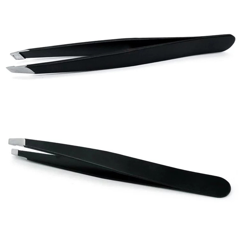 2pcs The High Quality Professional Stainless Steel Slant Tip Hair Removal Eyebrow Tweezer