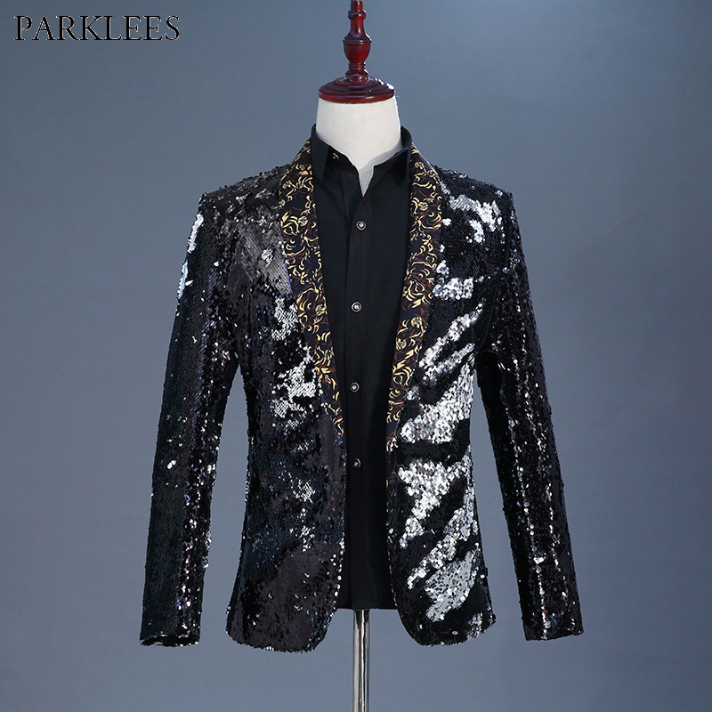 Detail Feedback Questions about Mens Stylish Shawl Collar Black Sequin  Blazer Jacket Men Nightclub DJ Singer Costume Wedding Party Stage Prom Suit  Blazer ... 5c87c4db2e1d