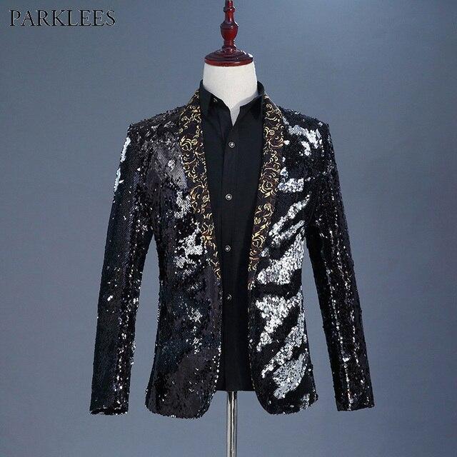 eea74f20d8c584 Mens Stylish Shawl Collar Black Sequin Blazer Jacket Men Nightclub DJ Singer  Costume Wedding Party Stage