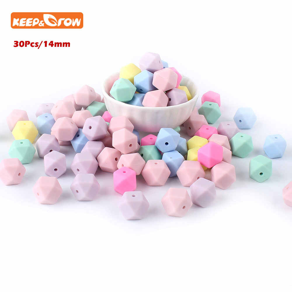 Keep&grow 30Pcs Perle Silicone Beads 14mm Perle Silicone Dentition Silicone Hexagon Bead Montessori Toys Baby Nursing Accessorie