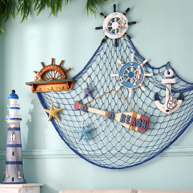 Blue White Fishing Net Hanging Decorative Fabric Seaside Beach Shell Partymediterranean Nautical Home Decor Door Wall