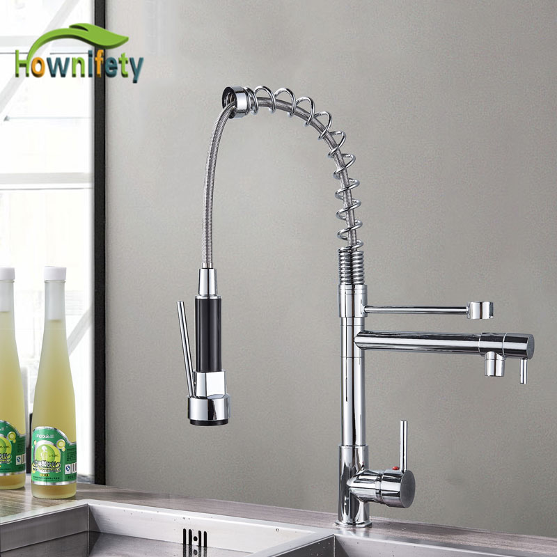 Hownifety Most popular Kitchen Spring Faucet Pull Down Sprayer Single Hole Kitchen Sink Mixer Rotate Cold