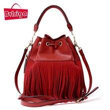 BVLRIGA Women Leather Handbags Tassel Bucket Bag Luxury Handbags Women Bags Designer Quality Shoulder Crossbody Messenger Bags