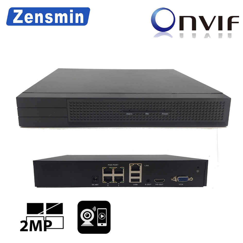 Zensmin H.265 FULL HD 4ch 8ch IP PoE NVR 3.0MP 2.0MP 1.0MP p2p 48V2A VGA HDMI Onvif 1SATA 6TB USB backup security cctv recorder